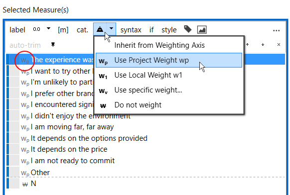 select project weight